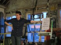 Aaron Marshall performing improvised stand up (suggestions by audience), LOFT, 2014