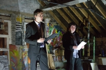 Christopher Goodfellows from The Department of Humorous Affairs (Aaron Marshall) and MC Marcus Keeley, LOFT, February 2015